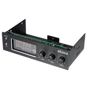 "AKASA kontrolní panel AK-FC-07BK do 5,25"" pro 3xfan, monitoring teploty, display, černý"