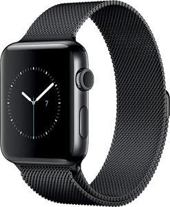 Apple Watch Series2 42mm, čierna nerezová oceľ, čierny milánsky ťah