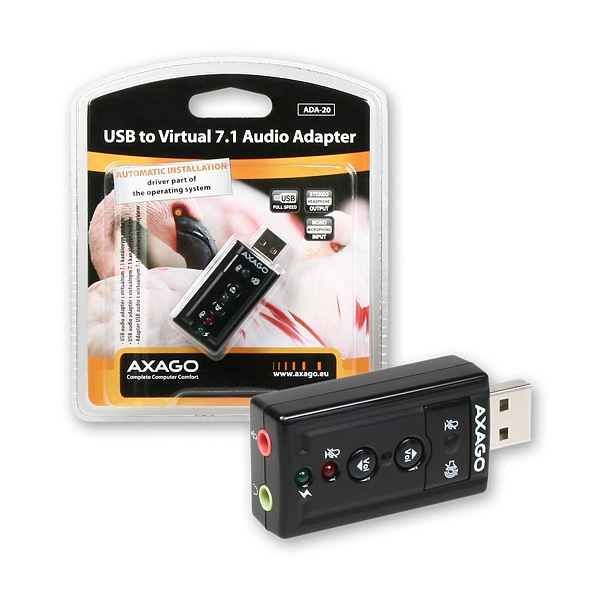 Axago ADA-20, 7.1 virtual audio adaptér, USB