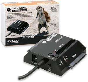 Axago Externý USB 2.0, 3xSATA HDD Clone adapter, ADSA-3S