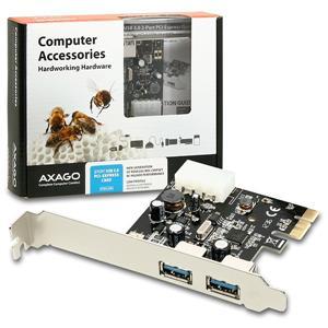 AXAGO PCEU-23R PCI-Express adapter 2x USB3.0 Renesas + LP
