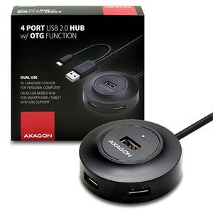 Axagon Hue X6GB, 4x USB2.0 cable hub + micro USB OTG čierny