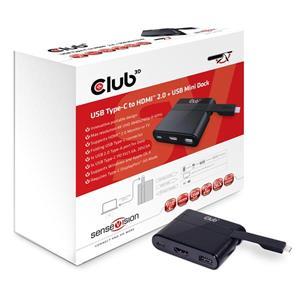 Club3D USB3.1C-HDMI+USB2.0+USB3.1C video prevodník M/F+F+F, adaptér