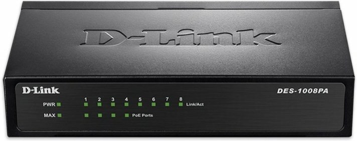 D-Link DES-1008PA 8x10/100 Desktop Switch, 4xPoE
