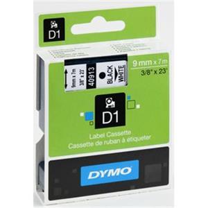 Dymo originál páska do tlačiarne štítkov, Dymo, 40913, S0720680, čierny tlač/biely podklad, 7m, 9mm, D1