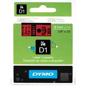 Dymo originál páska do tlačiarne štítkov, Dymo, 40917, S0720720, čierny tlač/červený podklad, 7m, 9mm, D1