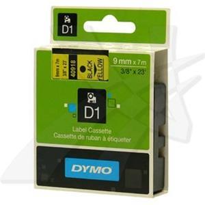 Dymo originál páska do tlačiarne štítkov, Dymo, 40918, S0720730, čierny tlač/žltý podklad, 7m, 9mm, D1