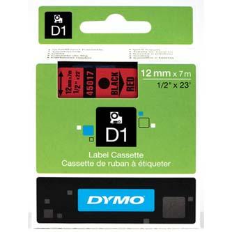 Dymo originál páska do tlačiarne štítkov, Dymo, 45017, S0720570, čierny tlač/červený podklad, 7m, 12mm, D1
