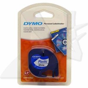Dymo originál páska do tlačiarne štítkov, Dymo, 59422, S0721560, čierny tlač/biely podklad, 4m, 12mm, LetraTag plastová