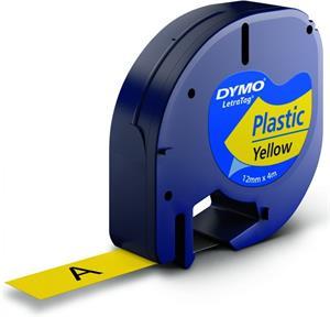 Dymo originál páska do tlačiarne štítkov, Dymo, 59423, S0721570, čierny tlač/žltý podklad, 4m, 12mm, LetraTag plastová p