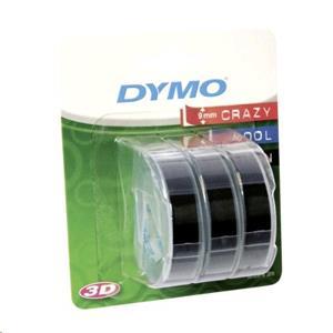 Dymo originál páska do tlačiarne štítkov, Dymo, S0847730, čierny podklad, 3m, 9mm, 3D, 1 blister/3 ks