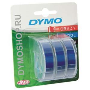 Dymo originál páska do tlačiarne štítkov, Dymo, S0847740, čierny tlač/modrý podklad, 3m, 9mm, 3D, 1 blister/3 ks