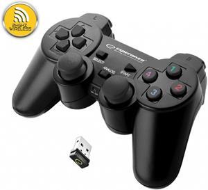 Esperanza EGG108K GLADIATOR bezdrôtový gamepad s vibráciami pre PC/PS3, čierny