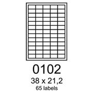 etikety RAYFILM 38x21,2 vysokolesklé biele laser R01190102A (100 list./A4)
