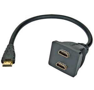 HDMI-HDMI redukcia M/2xF, 0.18m, rozbočovač