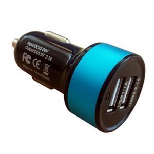 InHOUSE univerzálny USB auto nabíjač 5V/2,1A čierny/modrý