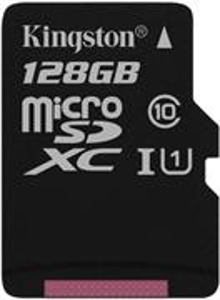 Kingston microSDXC, 128GB, UHS-I 45R/10W