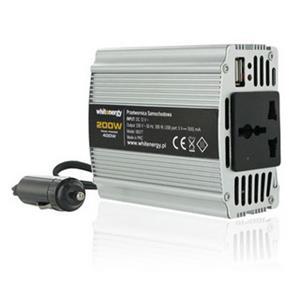 Napäťový menič Whitenergy AC/DC z 12V na 230V 200W, USB