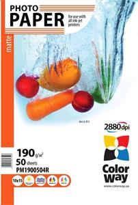 Photo paper ColorWay matte 190g/m, 10x15, 50pc. (PM1900504R)