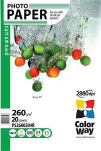 Photo paper ColorWay premium satin 260g/m2, 10x15, 20pc. (PS2600204R)
