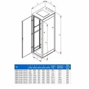 Rack Triton 19'' stojanový 37U/800x1000 prosklené dveře, šedý