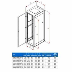 Rack Triton 19'' stojanový 37U/800x600 prosklené dveře, šedý