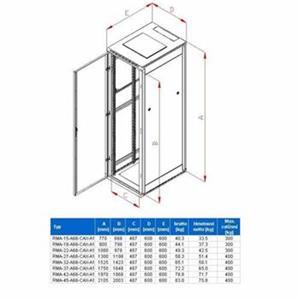 Rack Triton 19'' stojanový 45U/600x600 prosklené dveře, šedý