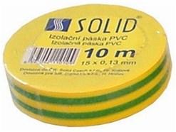 Solight izolačná páska, 15mm x 0,13 mm x 10m, žltozelená