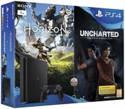 Sony PlayStation 4 Slim, 1TB + 2 hry (Horizon Zero Dawn + Uncharted: The Lost Legacy)
