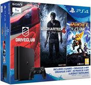 Sony PlayStation 4 Slim, 1TB + 3 hry (Uncharted 4, DriveClub, Ratchet&Clank)