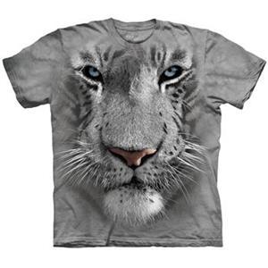 The Mountain White Tiger Face 3D tričko světlešedé vel. S