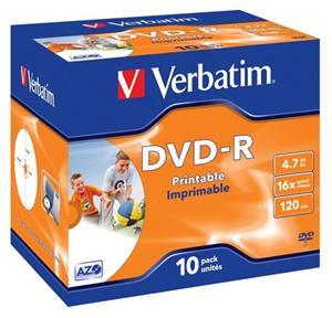 VERBATIM DVD-R Printable/16x/4.7GB/Jewel