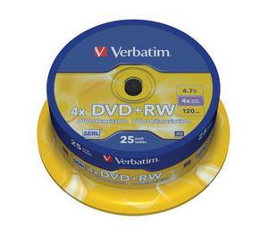 Verbatim DVD+RW 25 pack 4x/4.7GB