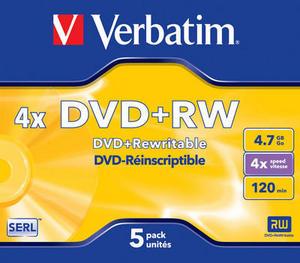 Verbatim DVD+RW 4x/4.7GB/Jewel - cena za 1 kus
