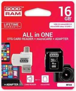 16 GB . microSDHC karta GOODRAM Class 10 UHS I + adapter + OTG reader