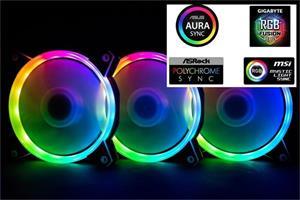 1stCOOL Fan KIT AURA RAINBOW, 3x ARGB LED ventilátor 12cm + radič + diaľkové ovládanie