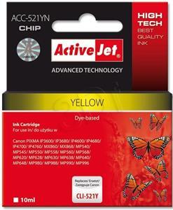 ActiveJet ink Canon CLI-521Y, žltý, 10 ml + chip