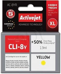 ActiveJet ink Canon CLI-8, žltá, 15 ml + chip