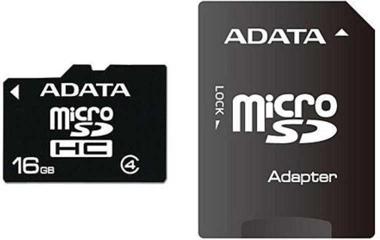 Adata microSDHC, Class 4, 16 GB + adaptér