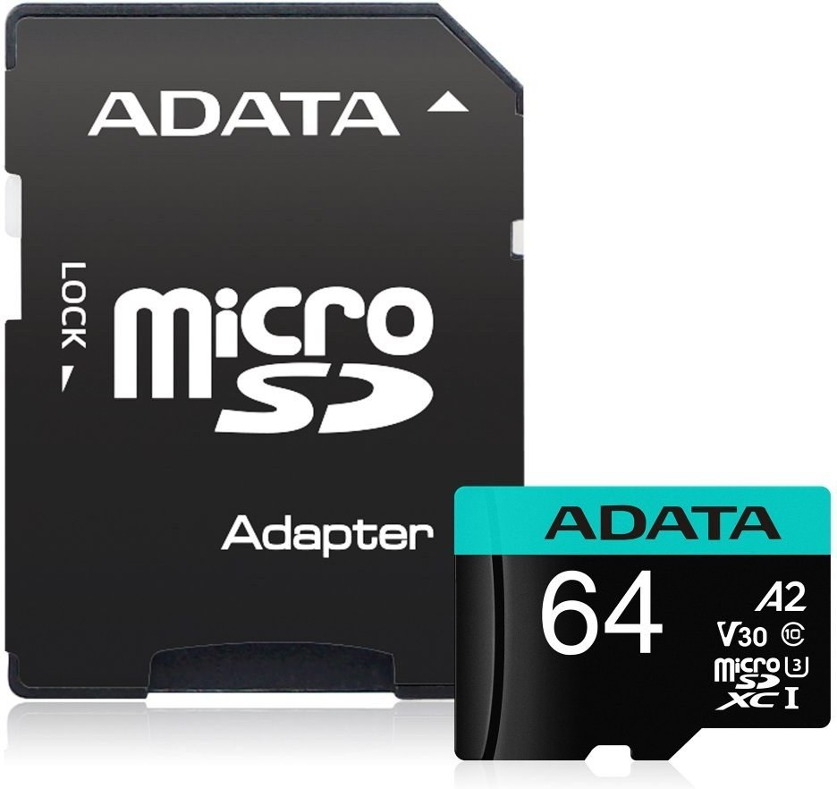 Adata Premier Pro microSDXC, UHS-I U3, Class 10, V30, A2, 64 GB + adaptér