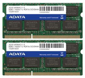 15ad6fed3 ADATA Premier, RAM pamäť, 1600MHz, 8GB ( 2 x 4 GB), DDR3 SODIMM