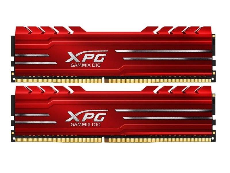 Adata XPG Gammix D10, DDR4, DIMM, 3000 MHz, 16 GB (2x 8 GB kit), CL16, červená