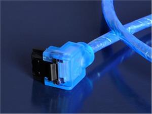 Akasa SATA3 kábel, 1.0m, 90°, modrý
