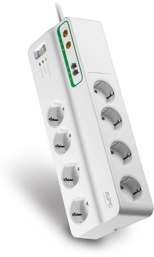 APC Essential SurgeArrest - prepäťová ochrana 8 zás.+ Phone & Coax, 3m prívodný kábel