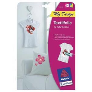 Avery Zweckform, zažehľovací papier, pre biele tričká, biely, A4, 5 listov, pre atramentové tlačiarne, O