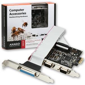 Axago PCEA-SP, PCI-Express adapter 2x seriový port + 1x par.