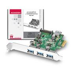 AXAGO PCEU-330V PCIe adaptér 3+1x USB3.0 UASP Charging 3A out VIA + LP