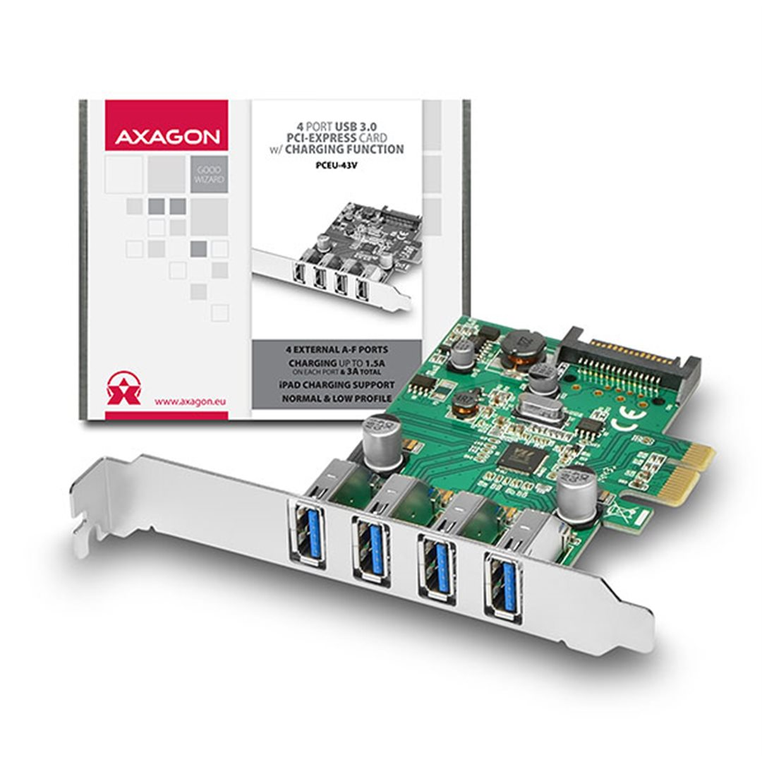 AXAGO PCEU-43V PCIe adaptér 4x USB3.0 UASP Charging 3A out VIA + LP