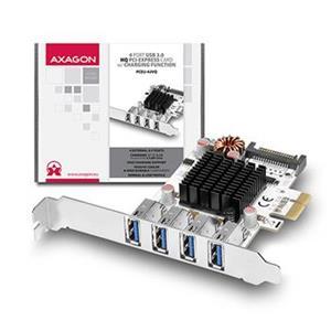 AXAGO PCEU-43VQ HQ PCIe adaptér 4x USB3.0 UASP Charging 3,8A out VIA + LP