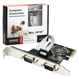 AXAGO PCIe adapter 2x sériový port + LP
